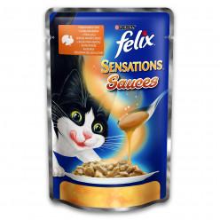 Вологий корм PURINA FELIX SENSATIONS з індичкою в соусі зі смаком бекону, 100г