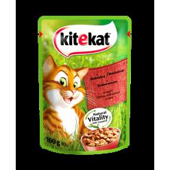 UA KITEKAT™.З яловичиною в соусі. Повнораціонний консервований корм для дорослих котів.