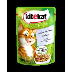 UA KITEKAT™.З телятиноюв соусі. Повнораціонний консервований корм для дорослих котів.