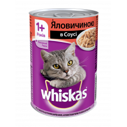 UA WHISKAS®. З яловичиною в соусі. Повнораціонний консервований корм для дорослих котів.
