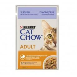 Вологий корм CAT CHOW (Кет Чау) для котів з ягням та зеленою квасолею, 85г