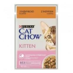 Вологий корм CAT CHOW (Кет Чау) для кошенят з індичкою та цукіні, 85г