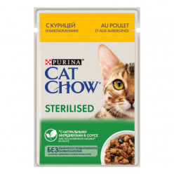Вологий корм CAT CHOW (Кет Чау) для стерилізованих котів з куркою та баклажанами, 85г