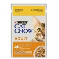 Вологий корм CAT CHOW (Кет Чау) для котів з куркою та цукіні, 85г
