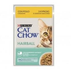 Вологий корм CAT CHOW (Кет Чау) виведення шерсті з куркою та зеленою квасолею, 85г
