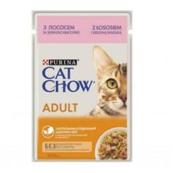 Вологий корм CAT CHOW (Кет Чау) для котів з лососем та зеленою квасолею, 85г
