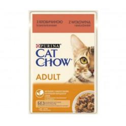 Вологий корм CAT CHOW (Кет Чау) для котів з яловичиною та баклажанами, 85г